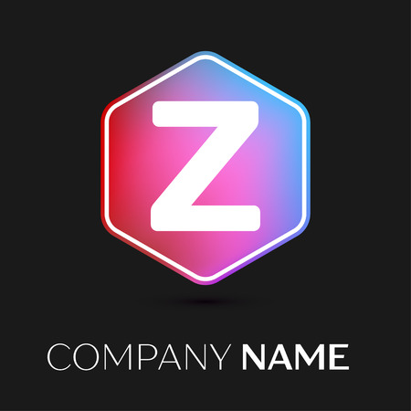 brand identity: Realistic Letter Z vector logo symbol in the colorful hexagonal on black background. Vector template for your design