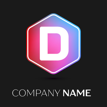 brand identity: Realistic Letter D vector logo symbol in the colorful hexagonal on black background. Vector template for your design