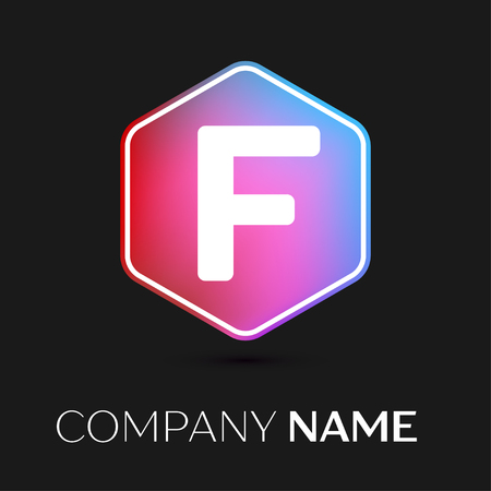 brand identity: Realistic Letter F vector logo symbol in the colorful hexagonal on black background. Vector template for your design