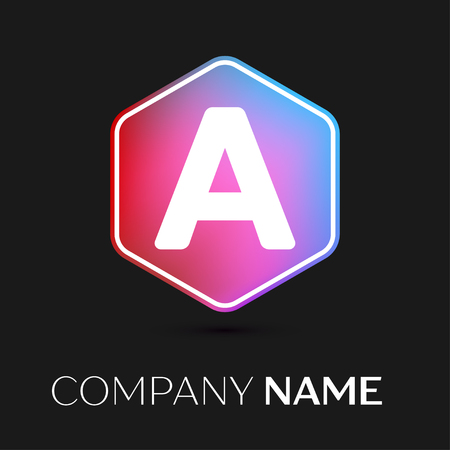 brand identity: Realistic Letter A vector logo symbol in the colorful hexagonal on black background. Vector template for your design