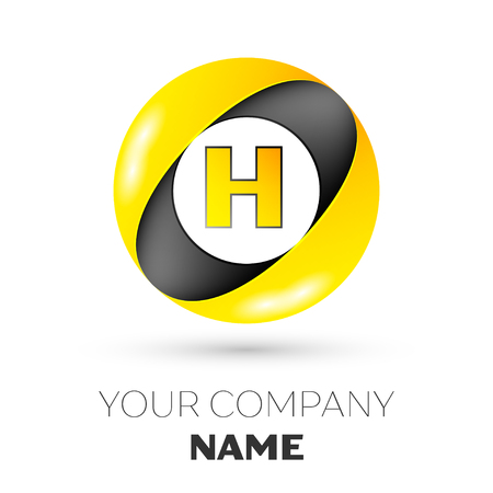 brand identity: Realistic Letter H vector logo symbol in the colorful circle on white background. Vector template for your design