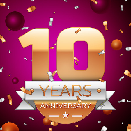 10th: Realistic Ten Years Anniversary Celebration Design. Golden numbers and silver ribbon, confetti on purple background. Colorful Vector template elements for your birthday party