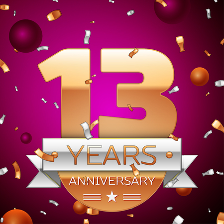13th: Realistic Thirteen Years Anniversary Celebration Design. Golden numbers and silver ribbon, confetti on purple background. Colorful Vector template elements for your birthday party