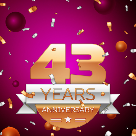 Realistic Forty three Years Anniversary Celebration Design. Golden numbers and silver ribbon, confetti on purple background. Colorful Vector template elements for your birthday party