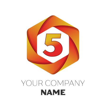 brand identity: Realistic number five vector logo symbol in the colorful hexagonal on white background. Vector template for your design