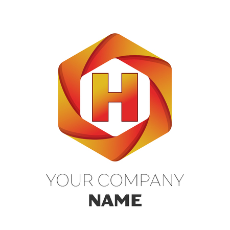 brand identity: Realistic Letter H vector logo symbol in the colorful hexagonal on white background. Vector template for your design