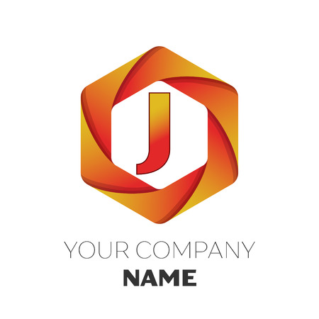 brand identity: Realistic Letter J vector logo symbol in the colorful hexagonal on white background. Vector template for your design Illustration