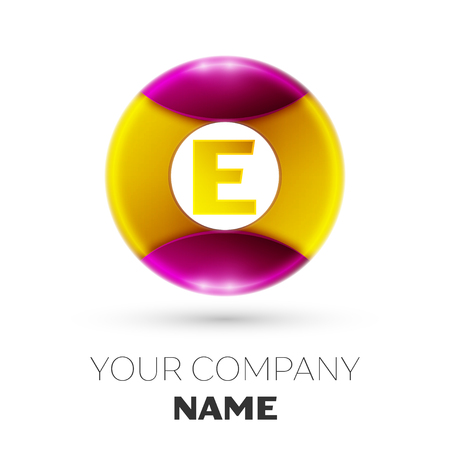e business: Realistic Letter E vector logo symbol in the colorful circle on white background. Vector template for your design