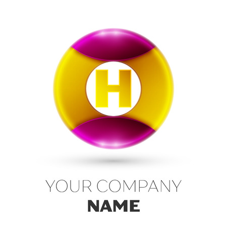 Realistic Letter H vector logo symbol in the colorful circle on white background. Vector template for your design