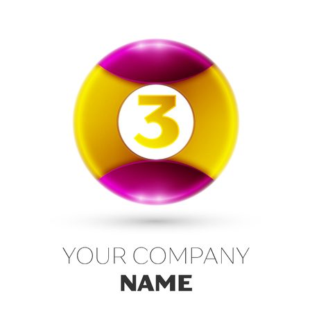 Realistic Number three vector logo symbol in the colorful circle on white background. Vector template for your design Illustration