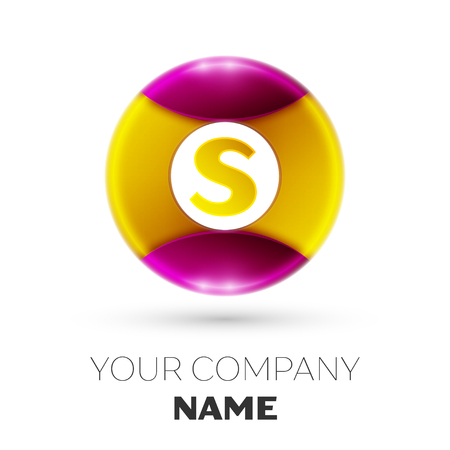 Realistic Letter S vector logo symbol in the colorful circle on white background. Vector template for your design