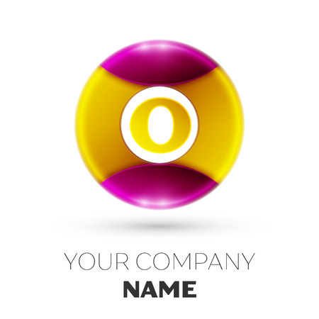 Realistic Letter O vector logo symbol in the colorful circle on white background. Vector template for your design Logo
