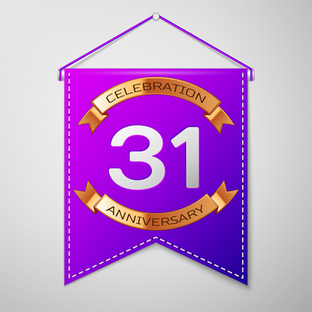 31th: Realistic Purple pennant with inscription Thirty one Years Anniversary Celebration Design on grey background. Golden ribbon. Colorful template elements for your birthday party. Vector illustration