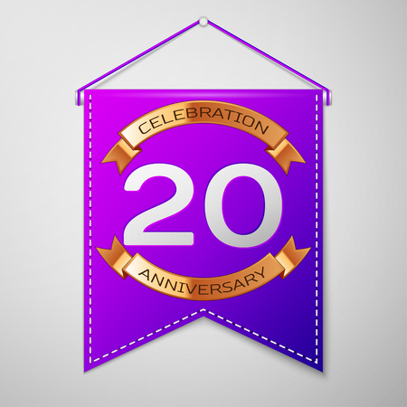 Realistic Purple pennant with inscription Twenty Years Anniversary Celebration Design on grey background. Golden ribbon. Colorful template elements for your birthday party. Vector illustration