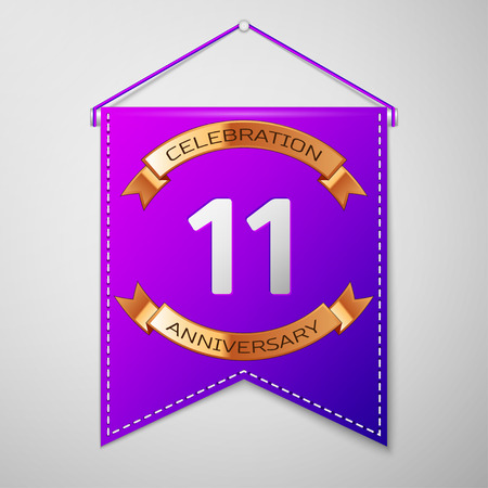 number eleven: Realistic Purple pennant with inscription Eleven Years Anniversary Celebration Design on grey background. Golden ribbon. Colorful template elements for your birthday party. Vector illustration