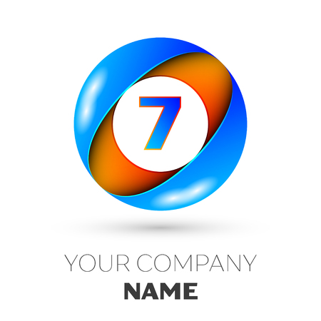 Realistic number seven vector logo symbol in the colorful circle on white background. Vector template for your design