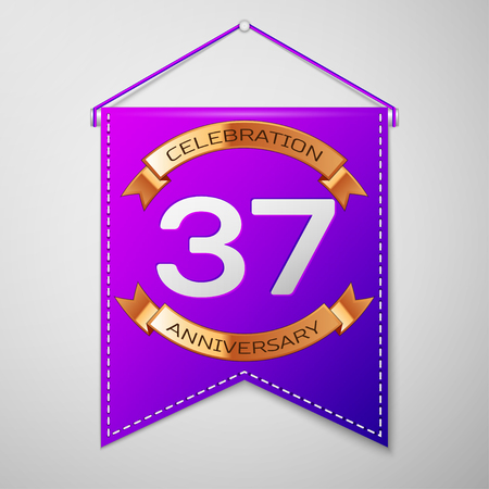 Realistic Purple pennant with inscription Thirty seven Years Anniversary Celebration Design on grey background. Golden ribbon. Colorful template elements for your birthday party. Vector illustration Illustration