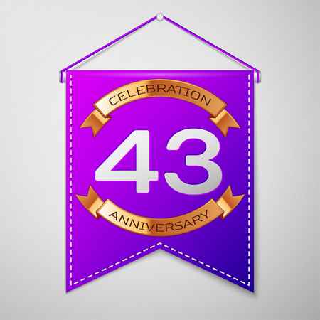 Realistic Purple pennant with inscription Forty three Years Anniversary Celebration Design on grey background. Golden ribbon. Colorful template elements for your birthday party. Vector illustration Illustration