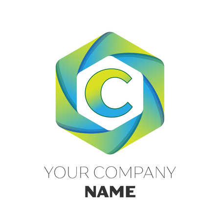 Realistic Letter C vector logo symbol in the colorful hexagonal on white background. Vector template for your design Illustration