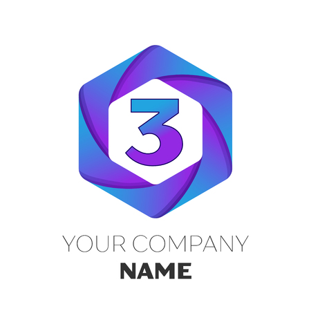 Realistic number three vector logo symbol in the colorful hexagonal on white background. Vector template for your design