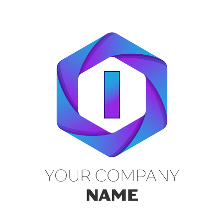 Realistic Letter I vector logo symbol in the colorful hexagonal on white background. Vector template for your design