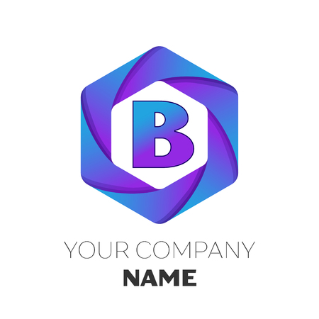 Realistic Letter B vector logo symbol in the colorful hexagonal on white background. Vector template for your design Illustration