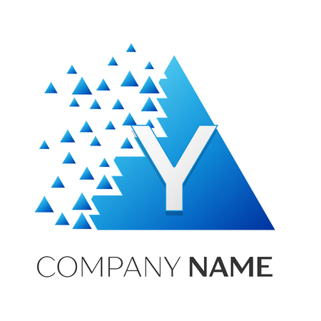 Realistic letter Y vector logo symbol in the colorful triangle with shattered blocks on white background. Vector template for your design Illustration