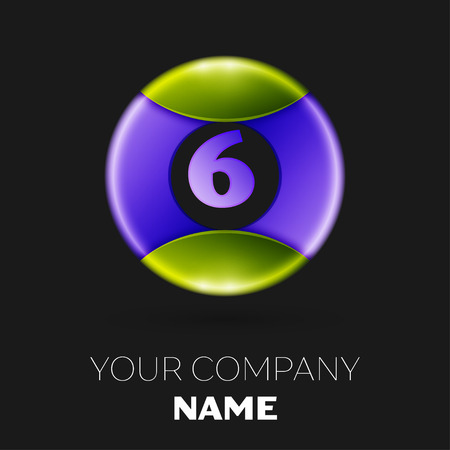 Realistic Number six vector logo symbol in the colorful circle on white background. Vector template for your design Illustration