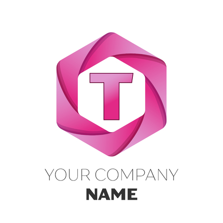 Realistic Letter T vector logo symbol in the colorful hexagonal on white background. Vector template for your design