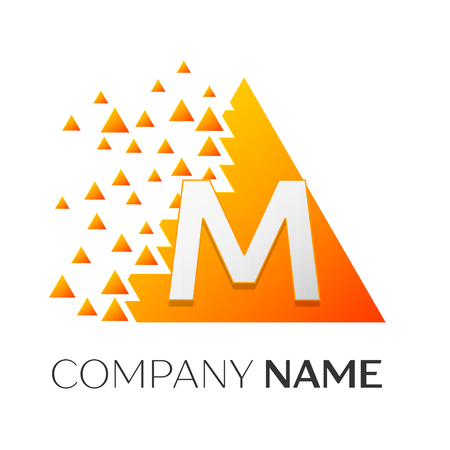 Realistic letter M vector logo symbol in the colorful triangle with shattered blocks on white background. Vector template for your design