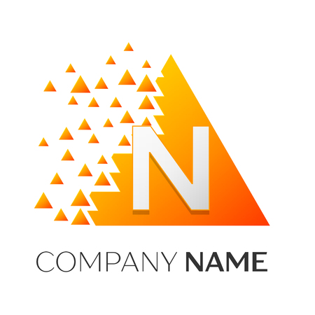 twist: Realistic letter N vector logo symbol in the colorful triangle with shattered blocks on white background. Vector template for your design