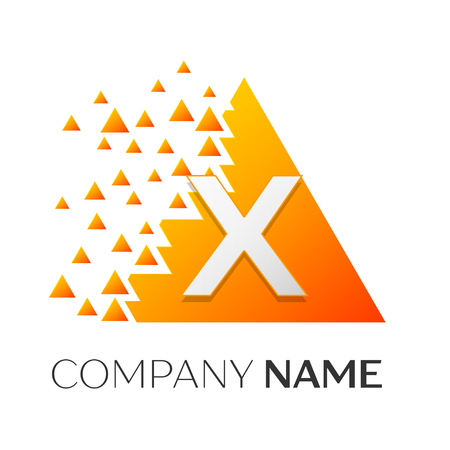 Realistic letter X vector logo with shattered blocks on white background.