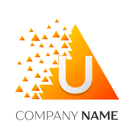 twist: Realistic letter U vector logo symbol in the colorful triangle with shattered blocks on white background. Vector template for your design Illustration