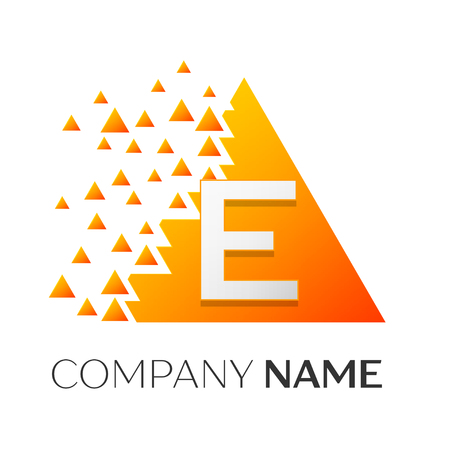 Realistic letter E vector logo symbol in the colorful triangle with shattered blocks on white background. Vector template for your design Illustration