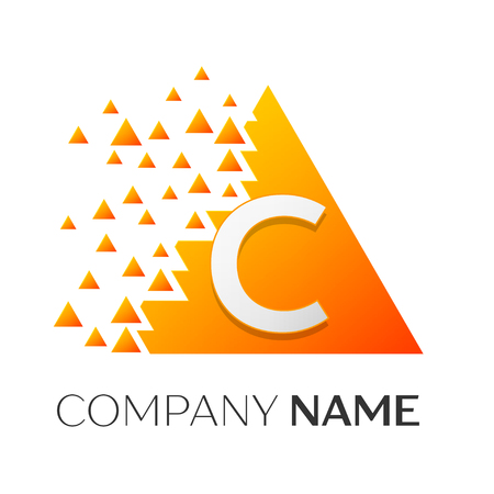 twist: Realistic letter C vector logo symbol in the colorful triangle with shattered blocks on white background. Vector template for your design
