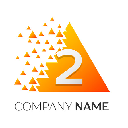 twist: Realistic number two vector logo symbol in the colorful triangle with shattered blocks on white background. Pixel Motion. Vector template for your design