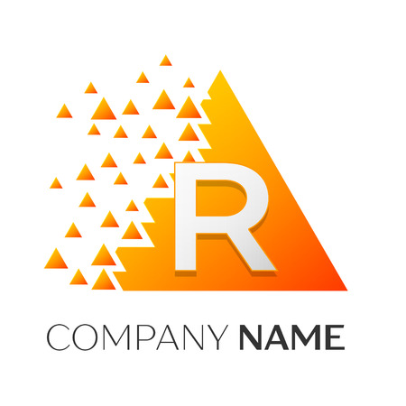 Realistic letter R vector logo symbol in the colorful triangle with shattered blocks on white background. Vector template for your design