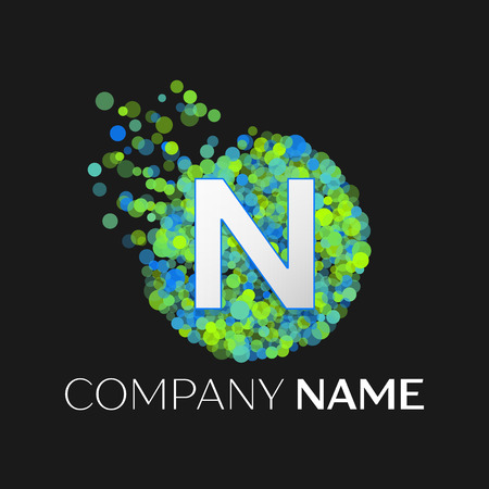 Realistic Letter N logo with blue, purple, pink particles and bubble dots in circle on black background. Vector template for your design