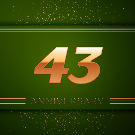 Realistic Forty three Years Anniversary Celebration Logotype. Golden numbers and golden confetti on green background. Colorful Vector template elements for your birthday party