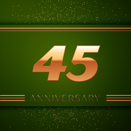45th: Realistic Forty five Years Anniversary Celebration Logotype. Golden numbers and golden confetti on green background. Colorful Vector template elements for your birthday party