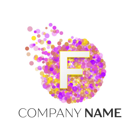 Realistic Letter F logo and vector template for your design. Illustration