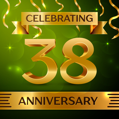Realistic Thirty-eight years anniversary celebration vector design.