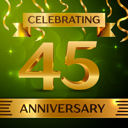 Realistic Forty-five years anniversary celebration vector design. Çizim