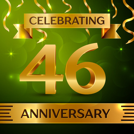 Realistic Forty-six years anniversary celebration vector design. Çizim