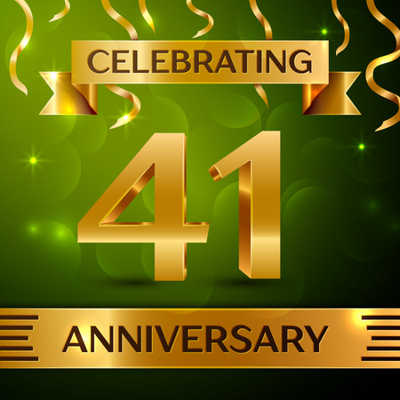 Realistic Forty-one years anniversary celebration vector design.