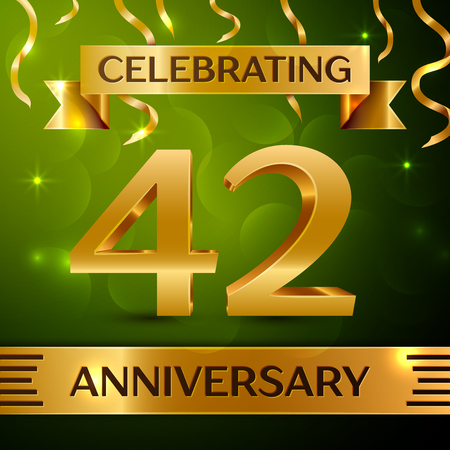 Realistic Forty-two years anniversary celebration vector design.