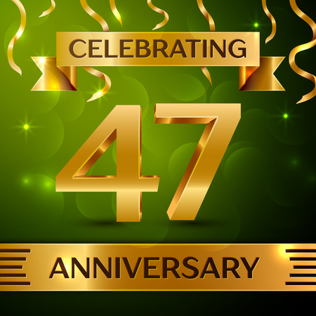 Realistic Forty-seven years anniversary celebration vector design.