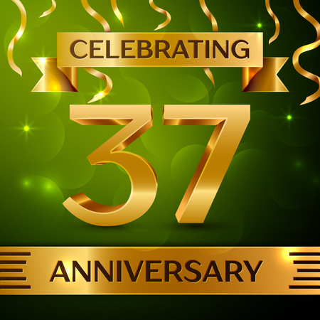 Realistic Thirty-seven years anniversary celebration vector design. Ilustração