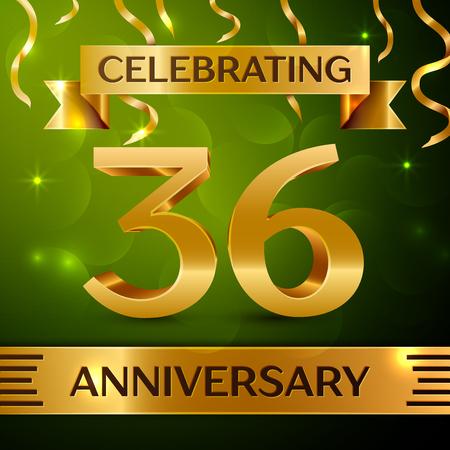 Realistic Thirty-six years anniversary celebration vector design. Ilustração