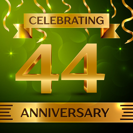 Realistic Forty-four years anniversary celebration vector design.